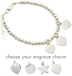 Silver bracelet 'Cute Balls' With Three Engraving Charms