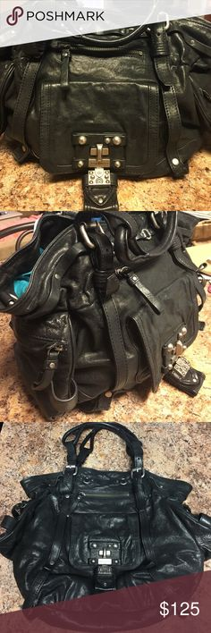 Juicy Couture leather bag Black, silver hardware, turquoise inside, sturdy Juicy Couture Bags Hobos