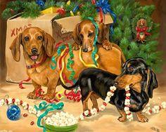 Descargar perro fondo de pantalla y la Navidad, Linda Picken 1280x1024