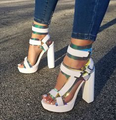 Newest Women Fashion Suede Leather High Platform Straps Buckles Chunky Heel Gladiator Sandals Ankle Wrap Patchwork High Heels Dream Shoes, Crazy Shoes, Me Too Shoes, Fancy Shoes, Trendy Shoes, High Heels, Shoes Heels, Pumps, Shoes Sneakers