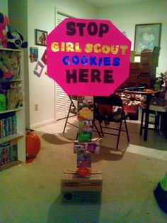Girl scout cookie stop sign booth post