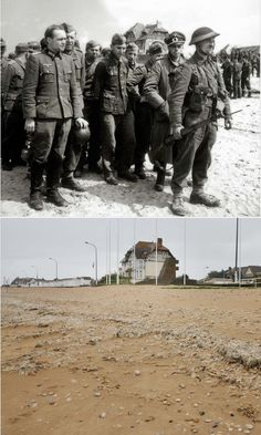 Un gran numero di prigionieri tedeschi sono raccolti sulla spiaggia di Bernières-sur-Mer, nel giugno del 1944. Essi sono sorvegliati da soldati britannici dal 2 ° Armata su Juno Beach (settore Bernieres),  #Normandia1944