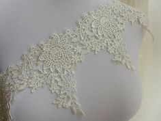 IVORY 9.5cm Wide Stretch Floral Lace Trimming 3.75/'/' Lingerie Costume Sewing DIY