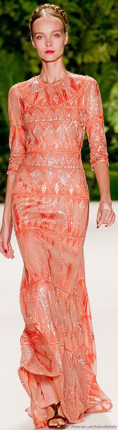Naeem Khan | S/S 2014 - the dress is beautiful.  The model is SCARY