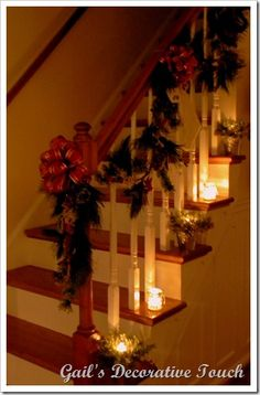Christmas stairs lit up