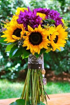sunflower and purple wedding | Yellow Sunflower, Purple Dahlia Bridal Bouquet - Fall Wedding - Avenue ...