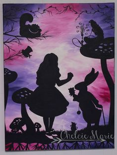 Alice in Wonderland Art for sale Original hand painted acrylic wall art white rabbit, caterpillar, cheshire cat, mad hatter, pink purple colorful painted art Alice In Wonderland Silhouette, Alice In Wonderland Paintings, Wonderland Alice, Art Disney, Disney Kunst, Alice Disney, Alice Tattoo, Purple Wall Art, Pinturas Disney