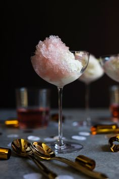 Wine granita is one of our favorite desserts. Actually, any time we can combine alcohol and dessert-- we do! Granitas are so easy to make and can be prepared a head of time, great for entertaining. For New Years Eve, we've teamed up with Elouan to make th Frozen Desserts, Sweet Desserts, Frozen Treats, Sweet Recipes, Dessert Recipes, Delicious Recipes, Cheers, Nectarine Recipes, Sangria Recipes