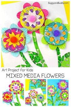 Mixed Media Flower Craft for Kids – Buggy and Buddy Mixed Media Flower Art Project for Kids: Use a variety of materials to create gorgeous floral artwork and crafts with kids. Crafts For Teens To Make, Spring Crafts For Kids, Kids Crafts, Easy Crafts, Diy And Crafts, Art And Craft Videos, Arts And Crafts Projects, Projects For Kids, Art Activities For Kids