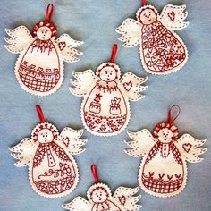 I love making these little Guardian Angels from Bird Brain Designs . In the past I have stitched out the designs, most of the time with Turk. Felt Christmas Decorations, Felt Christmas Ornaments, Angel Ornaments, Christmas Angels, Christmas Crafts, Christmas Time, Christmas Poinsettia, Birthday Decorations, Christmas Sewing