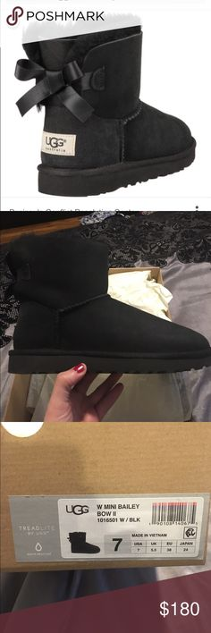 UGG MINI BAILEY BOW II Brand new in box authentic . Black. Make an Offer ! UGG Shoes Ankle Boots & Booties