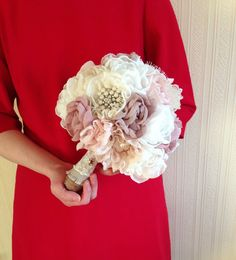 Fabric flower bouquet, Vintage Weddings, Peony Bouquet, Alternative brooch bouquet, Vintage Bridal Bouquet - ETSY! NO TUTORIAL