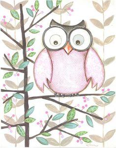 Sweet Pink Owl: Reesa Owl Pink One Framed Wall Art