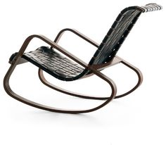 DONDOLO Rocking Chair, Black Leather with Walnut Stain contemporary-rocking-chairs