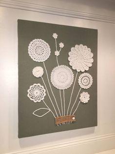 Doilies Crafts, Crochet Doilies, Crochet Flowers, Fabric Crafts, Crochet Wall Art, Crochet Wall Hangings, Crochet Home, Framed Doilies, Doily Art