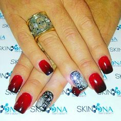 We love Nails ♡ Red and black acrylic Ombre with hand painted art. By Mel. #Red #black #acrylic #ombre #handpainted #art #nails #nailart #youngnails #nsi #SkinDNAnails  #SkinDNA #SkinDNApretoria