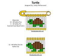 turtles.gif 720×567 pixels Safety Pin Art, Safety Pin Crafts, Safety Pin Jewelry, Safety Pins, Pony Bead Patterns, Bead Embroidery Patterns, Jewelry Patterns, Beading Patterns, Fundraising Crafts