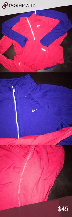 Nike DriFit Tops Purple Top Xsmall has peeling on swoosh sign pictured (photos) Red Top Small has flaws on threading on sleeve look at photos Nike Tops