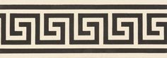 Greek Key Border Black on White Tile