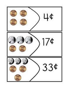 Here's a set of money cards where students count a combination of pennies, nickels, and dimes up to one dollar and find the card showing the correct value.