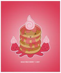 Kawaii Ichigo Jam Pancakes by KawaiiUniverseStudio.deviantart.com on @DeviantArt