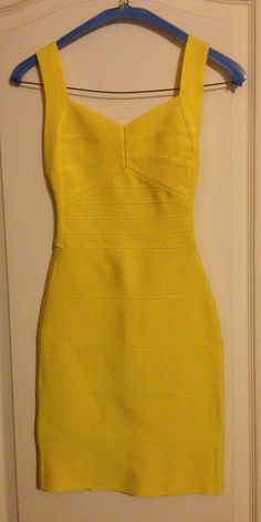 Herve Leger backless yellow bandage dress, size XS