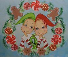 e pattern tole painting nortpole elves van margarithafunart op Etsy, €5.50