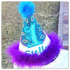 Custom Turquoise Peacock First Birthday Celebration Embroidered  OTT Party Hat Personalized with Name and Age Pageant Birthday Photo Prop on Etsy, $23.00