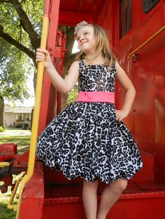Black Cheetah Bubble Dress w/Hot Pink Satin-pink, cheetah, bubble, dress, girl, baby