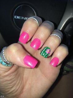 Newest Cactus Nails 2018 – 60 Design Hot Almond Shaped Nails Colors To Get You Inspired To Try. Hot Pink Nails, Fancy Nails, Diy Nails, Cute Nails, Pretty Nails, Hot Pink Pedicure, Rodeo Nails, Country Nails, Almond Shape Nails