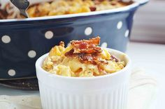 Smokey crispy bacon on top of rich creamy spicy chicken filled mac n' cheese. Comfort food at it's best with a kick!