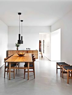 34 Awesome Scandinavian Dining Room Design And Decor Ideas - Now it is easy to dine in style with traditional Swedish dining chairs. Entertain friends as well as show off your wonderful Swedish home furniture. Dining Room Lighting, Dining Room Sets, Dining Room Design, Dining Room Furniture, Furniture Design, Wooden Furniture, Dining Area, Furniture Ideas, Dining Table