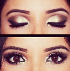 Cat eye on big brown eyes, oh so chic. Visit Beauty.com for more