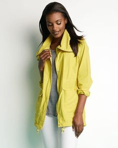 Eileen Fisher Weather-Resistant Coat, Linen Jersey Striped Tank & Washable Crepe Slim Ankle Pants - Neiman Marcus