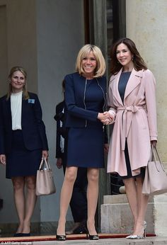 Princess Mary also met with Brigitte Trogneux (pictured), the 64-year-old wife of French P...