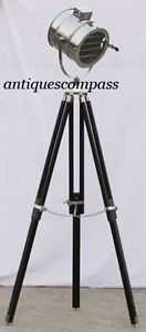 Nautical Collectible Nickel Plated Photography Studio Spot Search Light W/ Stand Front Dia:- 21.5cm. Lamp Front to Back:- 20.5cm   Wide:- 27.5cm Total Ht:-150cm