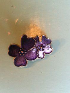 Vintage enamel purple cloisonne brooch pin by yorkshiretreasure