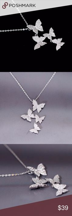Silver 925 Necklace Real 925 Sterling Silver  Butterfly Zircon Necklace with Pendant. Jewelry Necklaces