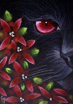 """Black Cat Behind the Flowers"" par Cyra R. Cancel"