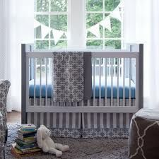 Furniture Kids Room Wonderful White And Grey Baby Crib Bedding With Gray Geometric Motives Blanket And Blue Foam Mattress As Well As Luxury Baby Cribs And Unique Baby Boy Crib Bedding Awesome Compell Grey Baby Cribs, Unique Baby Cribs, Blue Crib, Grey Crib, White Crib Bedding, Baby Boy Crib Bedding, Nursery Bedding Sets, Cot Bedding, Modern Crib