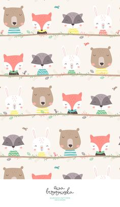 Woodland friends - cute horizontal woodland animals - textile surface pattern design for children.