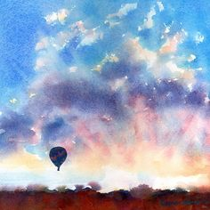 Items similar to Infatuated - Hot Air Balloon Sunrise Original Watercolor Painting on Etsy Watercolor Clouds, Watercolor Landscape, Watercolor Paintings, Watercolours, Balloon Painting, Painting & Drawing, Sunrise, Thing 1, Fine Art