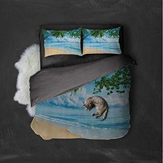 Luoiaax Tropical Decor Collection Hotel Luxury Bed Linen Sandy Tropical Beach in Summertime Sunny Day Seacoast Seascape Horizon Image Polyester – Soft and Breathable (Full) Blue Aqua Green Ivory #gray Tropical Decor, Linen Bedding, Sunny Days, Summertime, Aqua, Grey, Beach, Collection, Linen Sheets