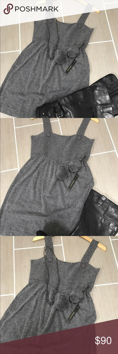 BCBG Maxazria Grey Sweater Dress with Pom Pom Belt This BCBG Pom Pom sweater dress is perfect for this fall/winter season.  It is so soft and comfy.  It is a size Large and fits true to BCBG sizing.  NWT!  ***This listing is for the dress only*** BCBGMaxAzria Dresses Midi