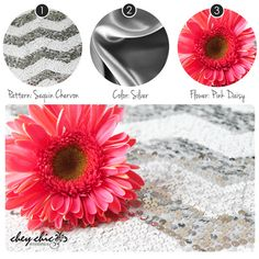 Silver Sequin Chevron with Pink Daisy - Chey Chic Weddings