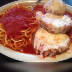 Eggplant Parmigiana With spaghetti. Sauce so good you will think your Italian grandma simmered it all day. Use any tomato sauce recipe you like.