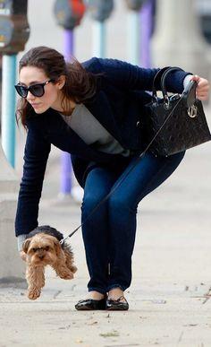 Emmy Rossum – Walking her dog in LA