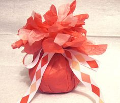Surprise Ball -  Coral Pink with diamond ribbon on Etsy, $15.00