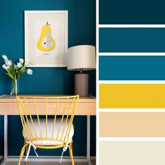 100 Color Inspiration Schemes : Blue + Bright Yellow Color Palette #color #palette #colorpalette