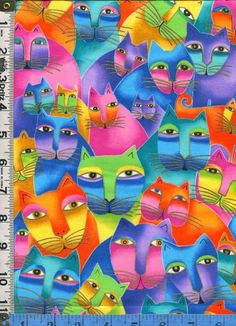 Fabric Laurel Burch FELINES AND CANINES cats faces packed Very RARE 1 yard,32in